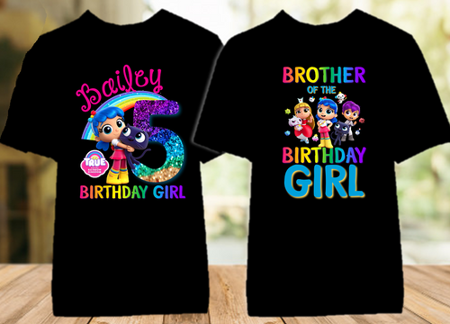 True and The Rainbow Kingdom Birthday Party Personalized Color T Shirt - 2 Pack - TRKC2P