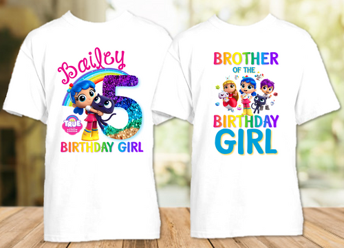 True and The Rainbow Kingdom Birthday Party Personalized T Shirt or Onesie - 2 Pack - TRK2P