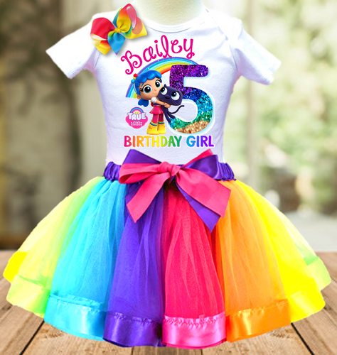 True and The Rainbow Kingdom Birthday Party Personalized Ribbon Tutu Outfit - All Sizes - TRKTO02