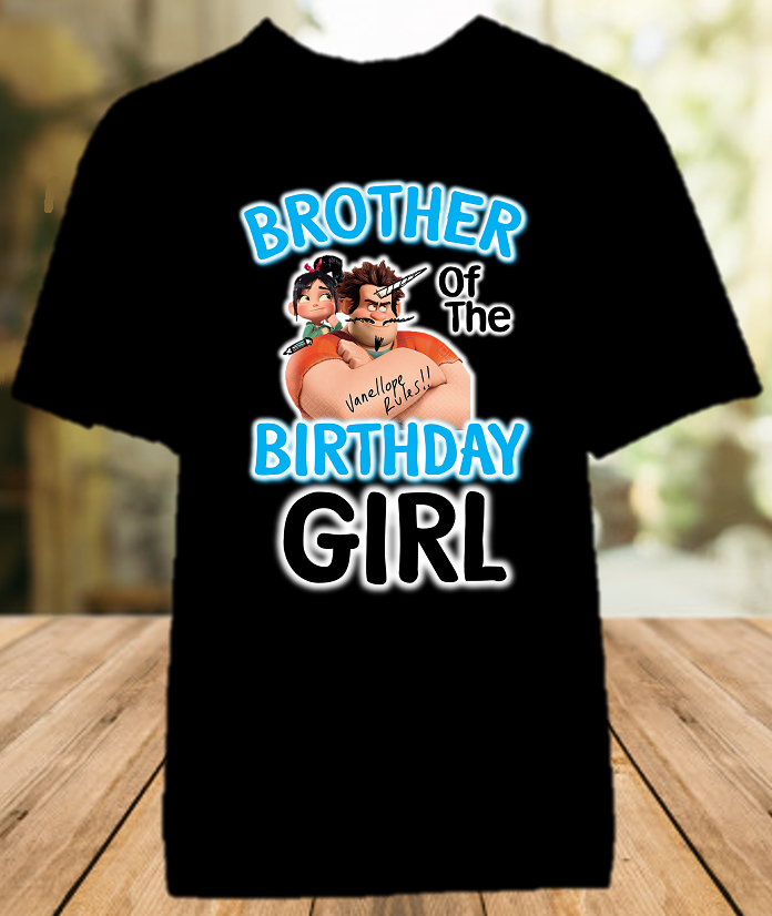 Wreck it Ralph Breaks Internet Vanellope Birthday Party Personalized Brother Color T Shirt - All Sizes - WVBCS1