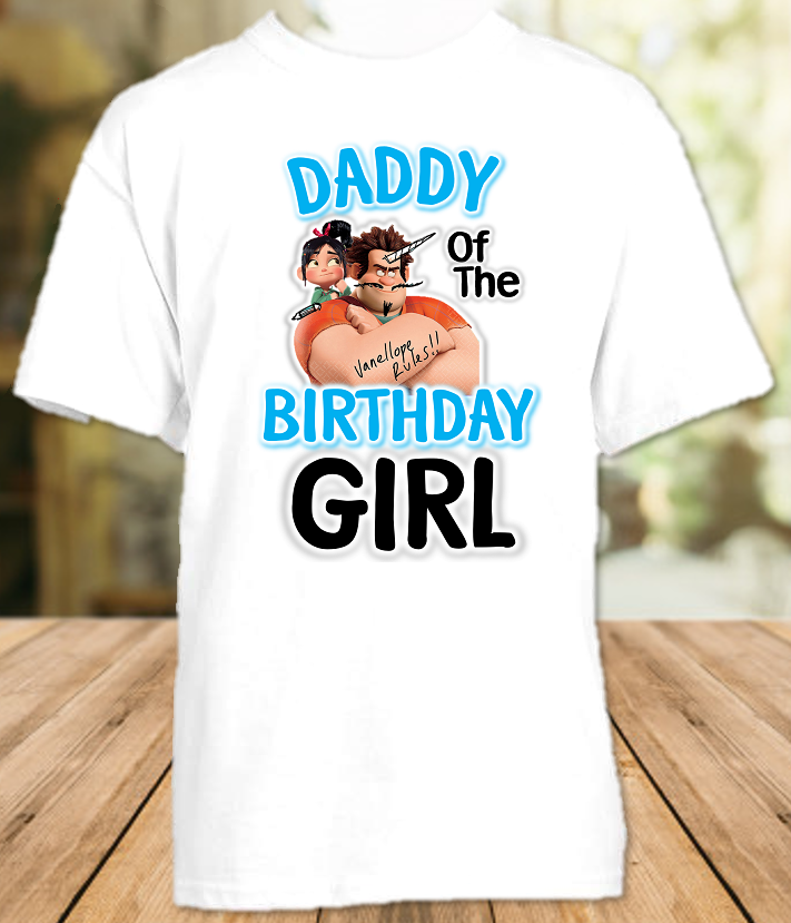 Wreck it Ralph Breaks Internet Vanellope Birthday Party Personalized Dad Daddy Father T Shirt - All Sizes - WVDS1