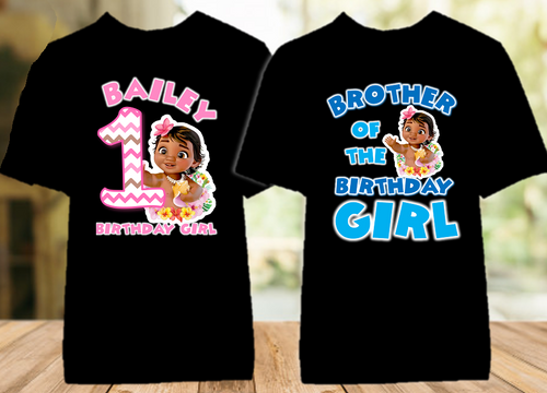 Baby Moana Birthday Party Personalized Color T Shirt - 2 Pack - BMOC2P