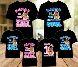 Baby Moana Birthday Party Personalized Color T Shirt - 6 Pack - BMOC6P