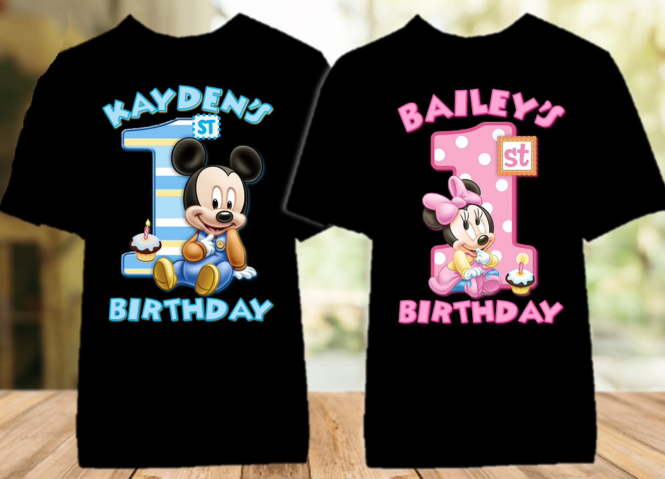 Baby Mickey Minnie Mouse 1st First Birthday Party Personalized Color T Shirt - 2 Pack - BMTC2P