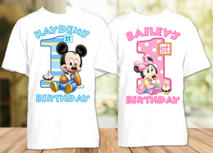 Baby Mickey Minnie Mouse 1st First Birthday Party Personalized T Shirt or Onesie - 2 Pack - BMT2P