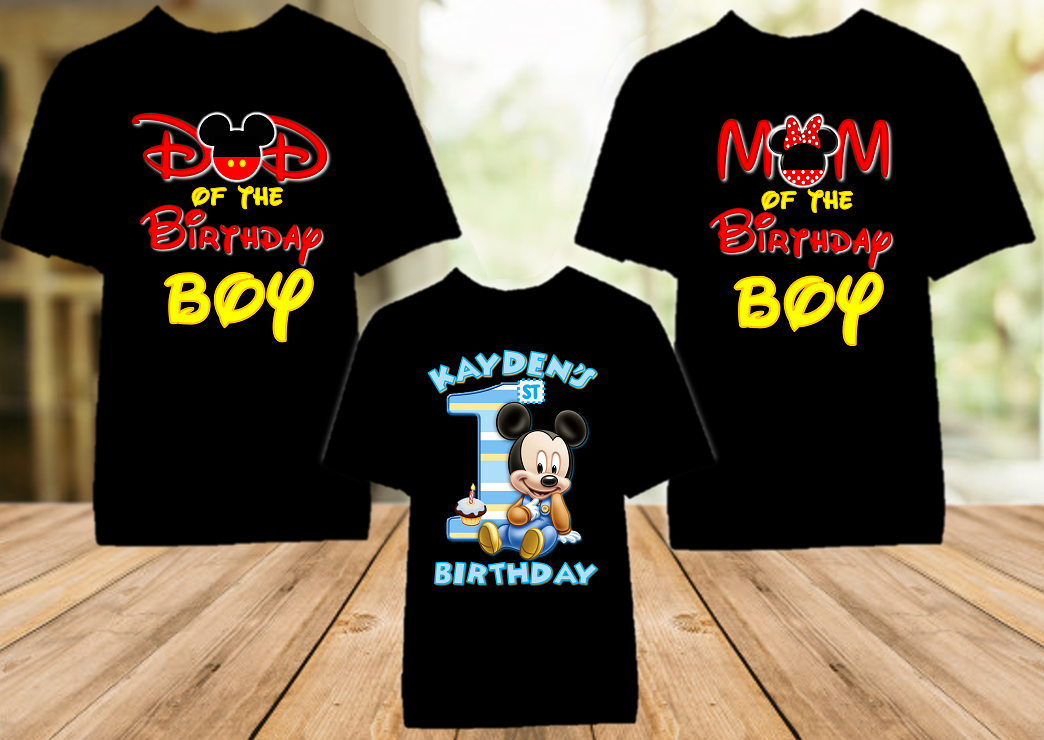 Baby Mickey Mouse 1st First Birthday Party Personalized Color T Shirt - 3 Pack - BMC3P