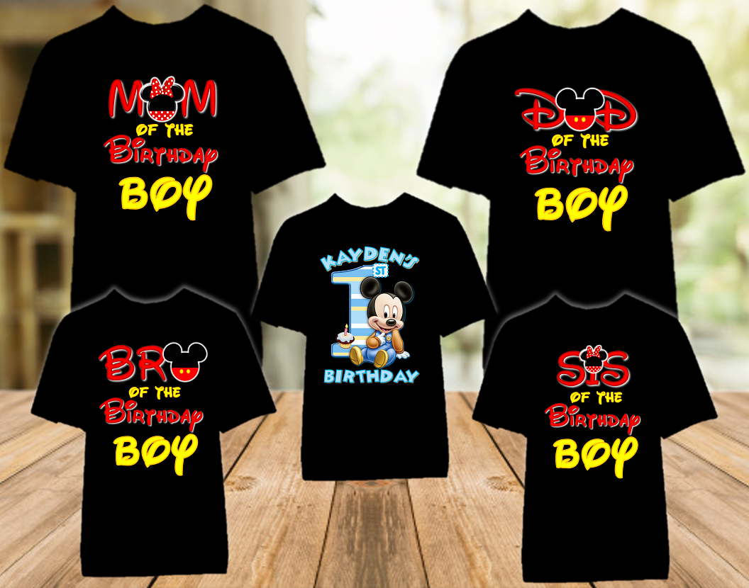 Baby Mickey Mouse 1st First Birthday Party Personalized Color T Shirt - 5 Pack - BMC5P
