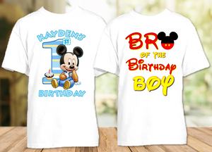 Baby Mickey Mouse 1st First Birthday Party Personalized T Shirt or Onesie - 2 Pack - BM2P