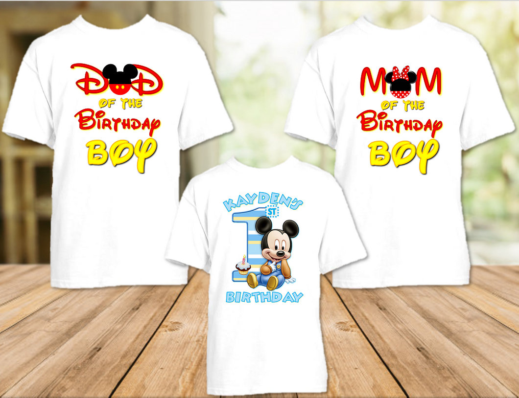 Baby Mickey Mouse 1st First Birthday Party Personalized T Shirt or Onesie - 3 Pack - BM3P
