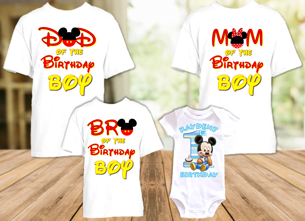 Baby Mickey Mouse 1st First Birthday Party Personalized T Shirt or Onesie - 4 Pack - BM4P