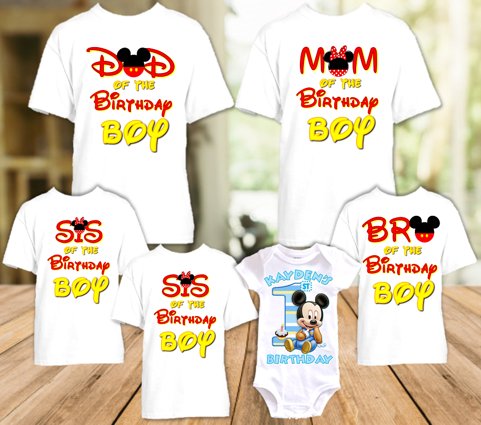 Baby Mickey Mouse 1st First Birthday Party Personalized T Shirt or Onesie - 6 Pack - BM6P