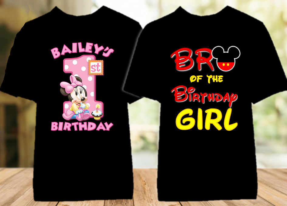 Baby Minnie Mouse 1st First Birthday Party Personalized Color T Shirt - 2 Pack - BMMC2P