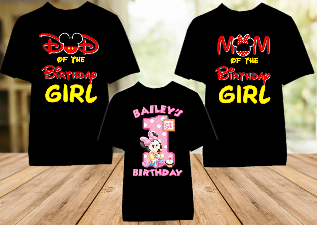 Baby Minnie Mouse 1st First Birthday Party Personalized Color T Shirt - 3 Pack - BMMC3P