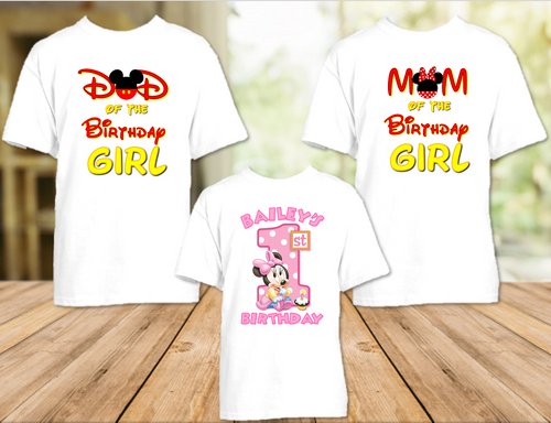 Baby Minnie Mouse 1st First Birthday Party Personalized T Shirt or Onesie - 3 Pack - BMM3P