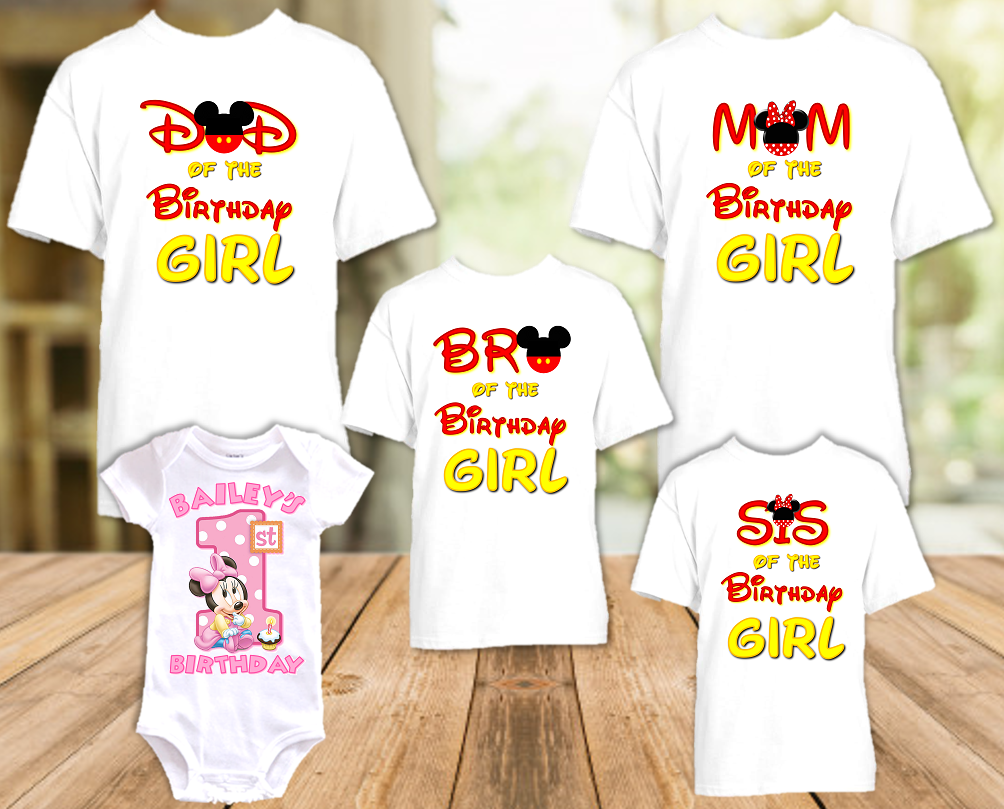 Baby Minnie Mouse 1st First Birthday Party Personalized T Shirt or Onesie - 5 Pack - BMM5P