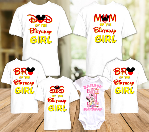 Baby Minnie Mouse 1st First Birthday Party Personalized T Shirt or Onesie - 6 Pack - BMM6P