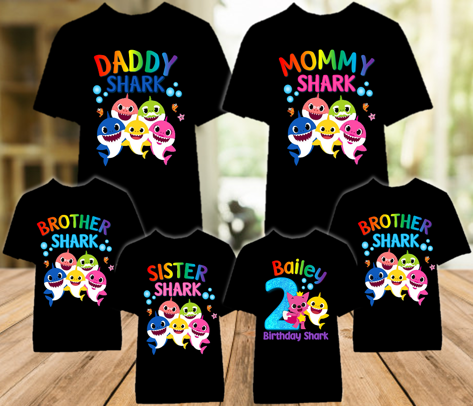 Baby Shark Pinkfong Birthday Party Personalized Color T Shirt - 6 Pack