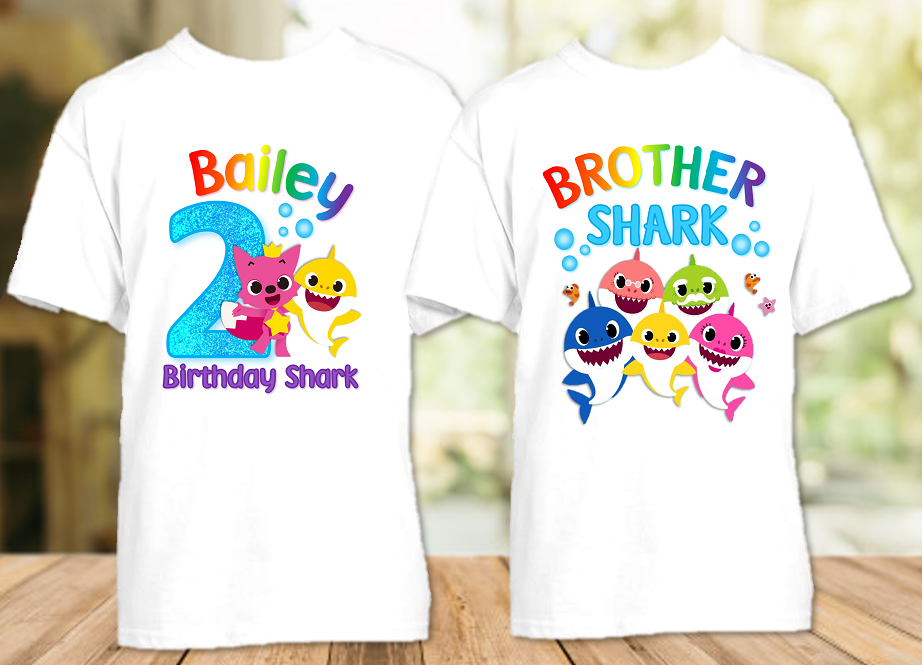 Baby Shark Pinkfong Birthday Party Personalized T Shirt or Onesie - 2 Pack
