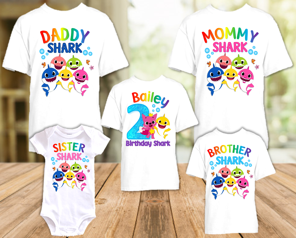 Baby Shark Pinkfong Birthday Party Personalized T Shirt or Onesie - 5 Pack