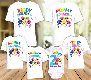 Baby Shark Pinkfong Birthday Party Personalized T Shirt or Onesie - 6 Pack