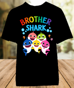 Baby Shark Pinkfong Birthday Party Personalized Sibling Brother Color T Shirt - All Sizes Available