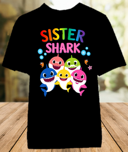 Baby Shark Pinkfong Birthday Party Personalized Sibling Sister Color T Shirt - All Sizes Available