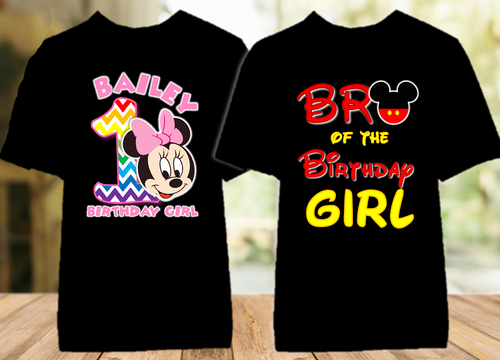 Baby Minnie Rainbow 1st First Birthday Party Personalized Color T Shirt - 2 Pack - BMMRC2P