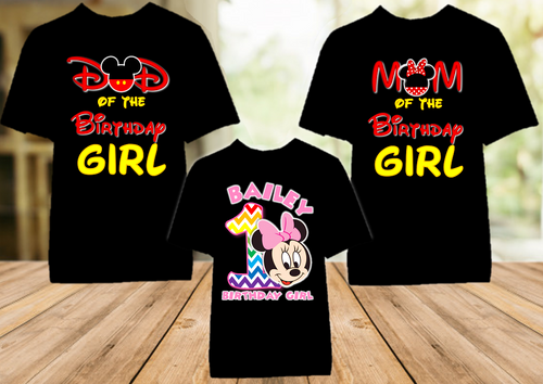 Baby Minnie Rainbow 1st First Birthday Party Personalized Color T Shirt - 3 Pack - BMMRC3P