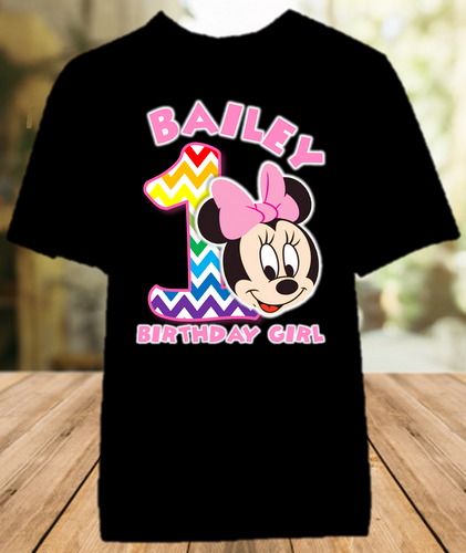 Baby Minnie Rainbow 1st First Birthday Party Personalized Color T Shirt - All Sizes - BMMRCS1