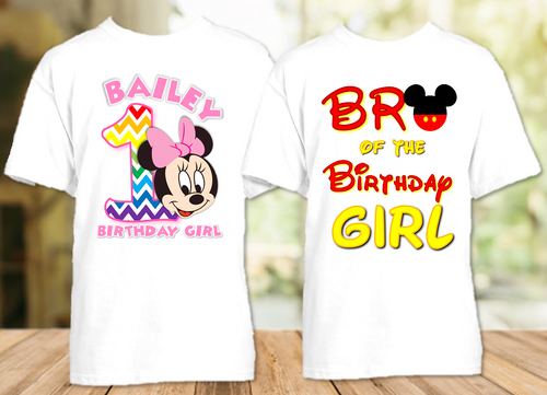 Baby Minnie Rainbow 1st First Birthday Party Personalized T Shirt or Onesie - 2 Pack - BMMR2P
