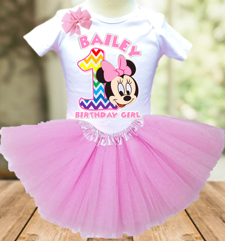 Baby Minnie Rainbow 1st First Birthday Party Personalized Layer Tutu Outfit - All Sizes - BMMRTO01
