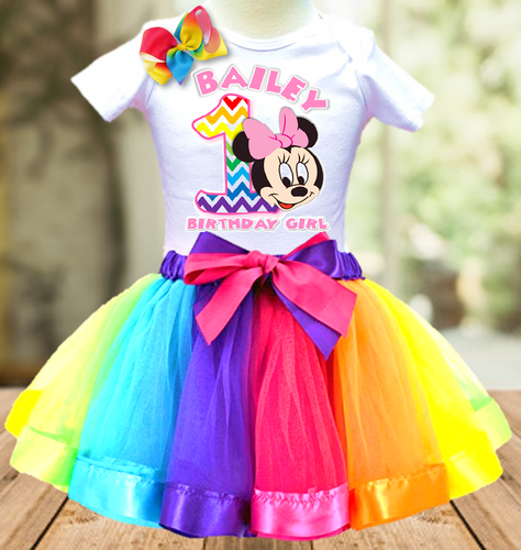 Baby Minnie Rainbow 1st First Birthday Party Personalized Ribbon Tutu Outfit - All Sizes - BMMRTO02
