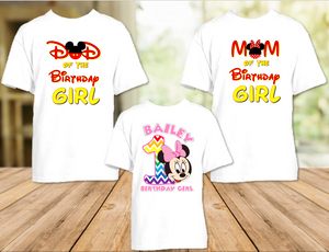 Baby Minnie Rainbow 1st First Birthday Party Personalized T Shirt or Onesie - 3 Pack - BMMR3P