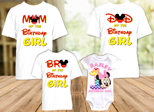 Baby Minnie Rainbow 1st First Birthday Party Personalized T Shirt or Onesie - 4 Pack - BMMR4P
