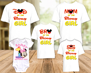 Baby Minnie Rainbow 1st First Birthday Party Personalized T Shirt or Onesie - 5 Pack - BMMR5P