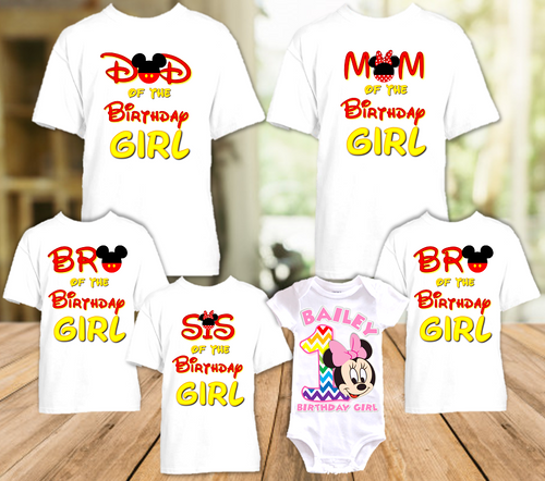 Baby Minnie Rainbow 1st First Birthday Party Personalized T Shirt or Onesie - 6 Pack - BMMR6P