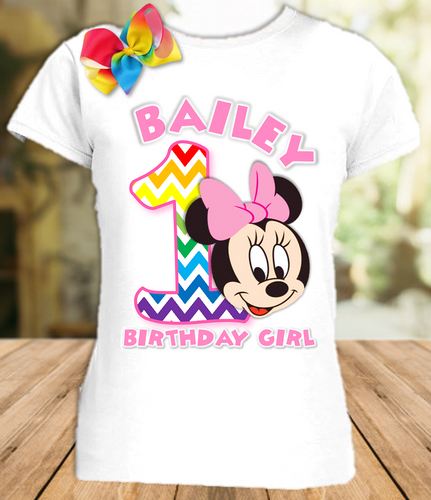 Baby Minnie Rainbow 1st First Birthday Party Personalized T Shirt or Onesie with Hair Bow - All Sizes - BMMRS1H