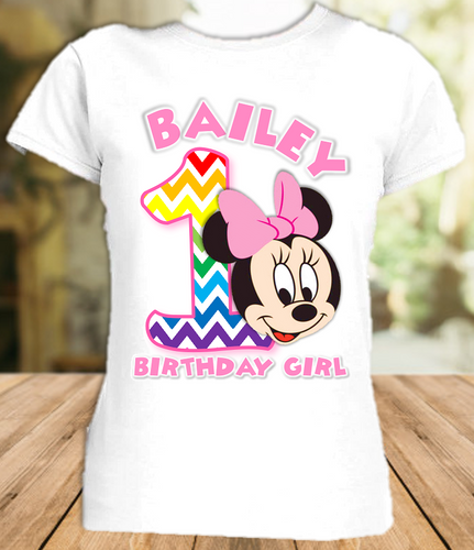 Baby Minnie Rainbow 1st First Birthday Party Personalized T Shirt or Onesie - All Sizes - BMMRS1