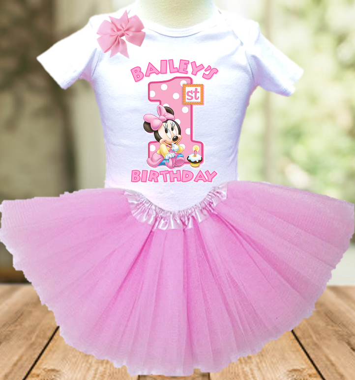 Baby Minnie Mouse 1st First Birthday Party Personalized Layer Tutu Outfit - All Sizes Available - BMTO02