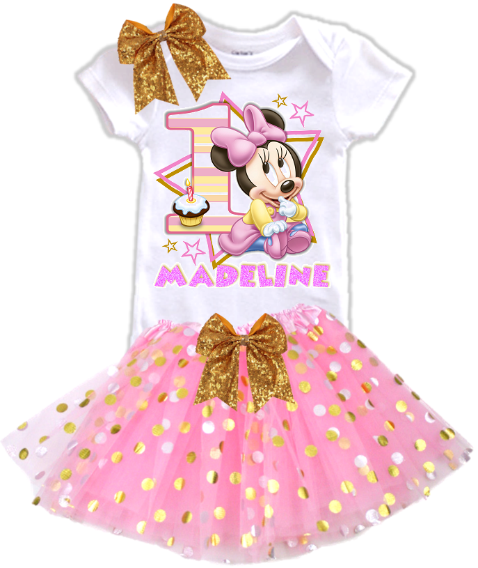 Baby Minnie Mouse 1st First Birthday Party Personalized Gold Dots Tutu Outfit - All Sizes - BMGOLDTO01