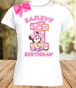 Baby Minnie Mouse 1st First Birthday Party Personalized T Shirt or Onesie  with Hair Bow - All Sizes - BMMS1H