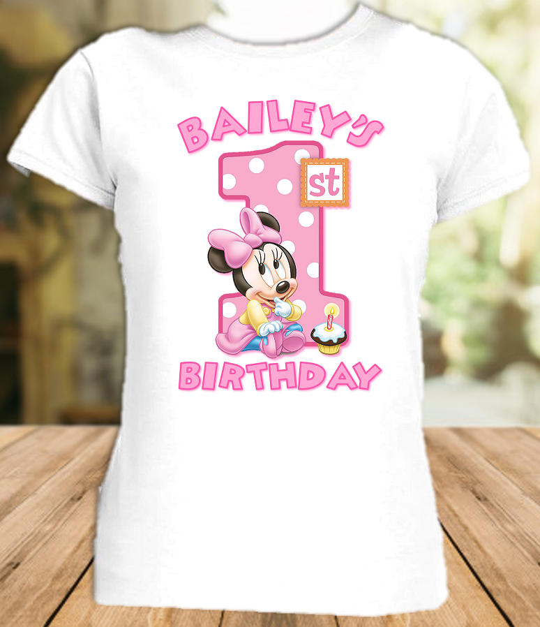 Baby Minnie Mouse 1st First Birthday Party Personalized T Shirt or Onesie - All Sizes - BMMS1