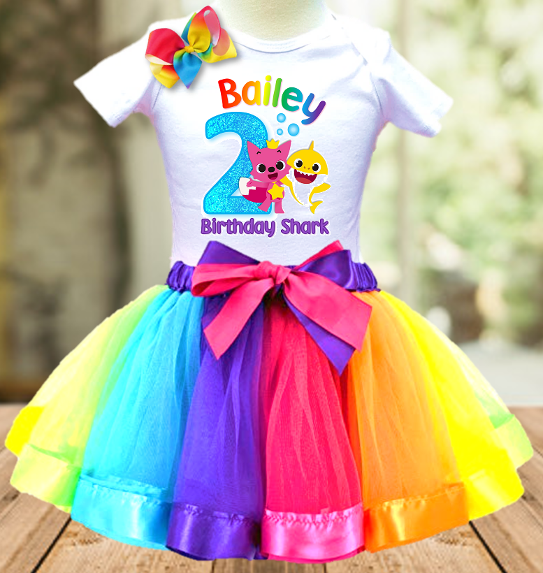 Baby Shark Pinkfong Birthday Party Personalized Ribbon Tutu Outfit - All Sizes Available - BSTO01