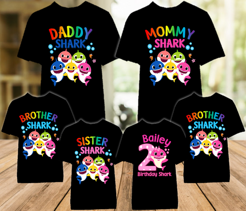 Baby Shark Pink Birthday Party Personalized Color T Shirt - 6 Pack - BSPC6P