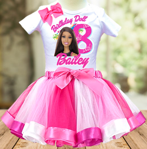 Barbie Black Birthday Party Personalized Ribbon Tutu Outfit - All Sizes Available - BTO03