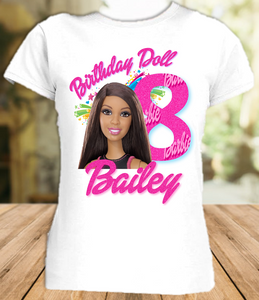 Barbie Black Birthday Party Personalized T Shirt or Onesie - All Sizes - BARS1