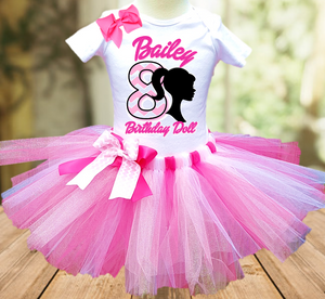 Barbie Silhouette Birthday Party Personalized Tutu Outfit - All Sizes Available - BFTO04