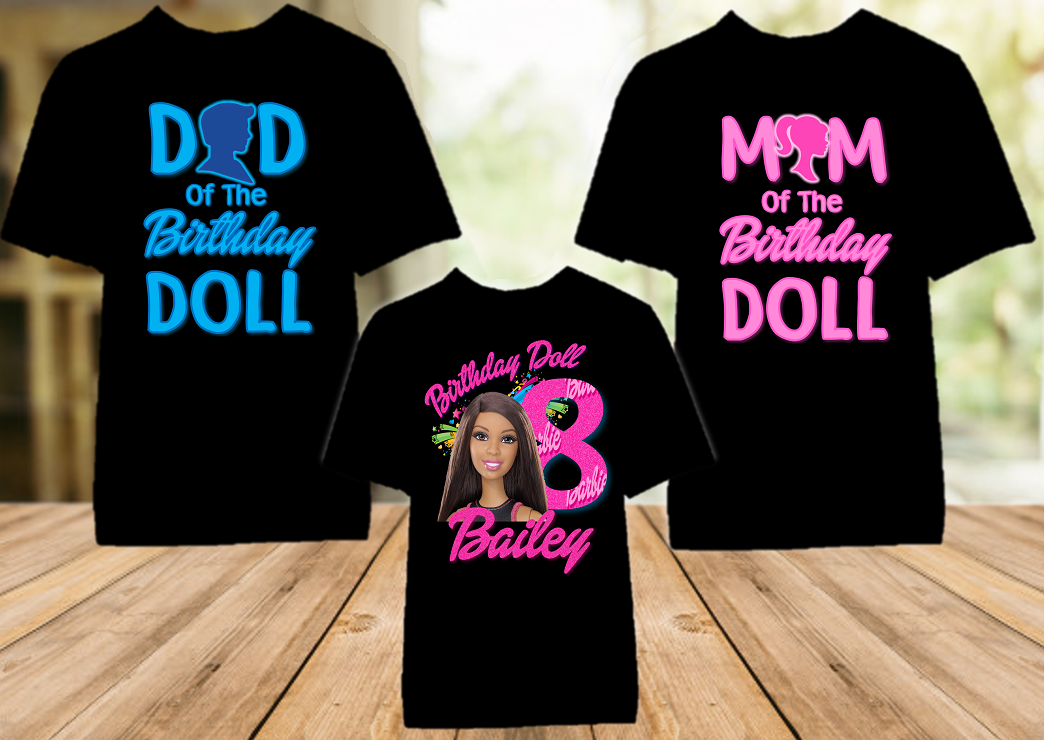 Barbie Black Birthday Party Personalized Color T Shirt - 3 Pack