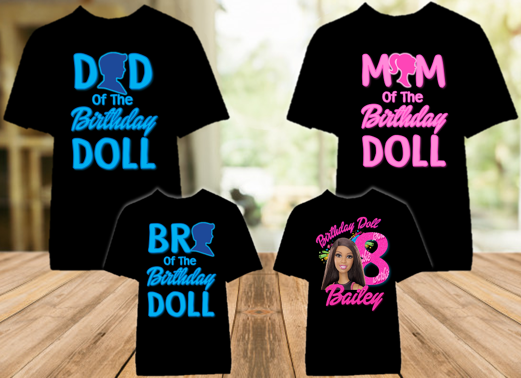 Barbie Black Birthday Party Personalized Color T Shirt - 4 Pack