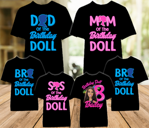 Barbie Black Birthday Party Personalized Color T Shirt - 6 Pack